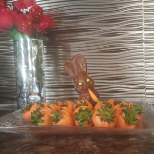 Chocolate Covered Strawberries & Easter Bunny Dessert
