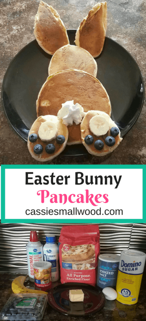 This DIY Easter Bunny Pancake recipe will make your kids so happy for Easter morning breakfast or anytime. Click through to see how simple it is!