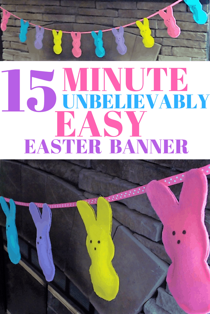 This Easter Peeps banner is so easy anyone can make it. Free Peeps template! No sewing required.