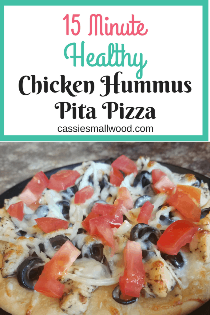 This Chicken Hummus Pita Pizza is the perfect quick and healthy chicken recipe for an easy dinner or lunch.