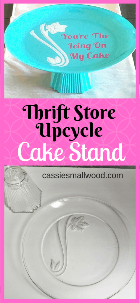 A glass platter and ceiling fan light cover become a beautiful cake stand for a decorating thrift store finds blog challenge. Rustoleum spray paint on thrift store glass for a bright thrift store upcycle
