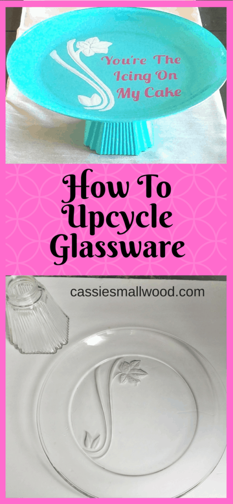 How to upcycle glassware with spray paint and make a gorgeous, inexpensive cake stand.  Perfect for holidays, weddings, gifts or home decorating.