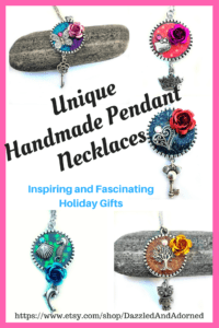 Unique Handmade Pendant Necklaces are colorful and glittery. Perfect gifts for birthdays, Christmas, Mother's Day, Valentine's Day.