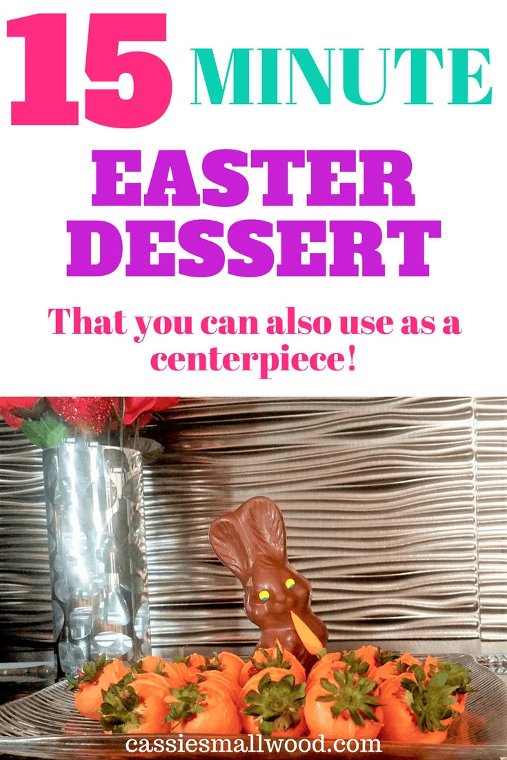 This is the easiest Easter dessert I've ever made! Super simple easy Easter dessert idea that my family loved! There's a secret weapon for getting the chocolate to set up without refrigerating too!  Perfect chocolate covered strawberry dessert that comes out fabulous every time!