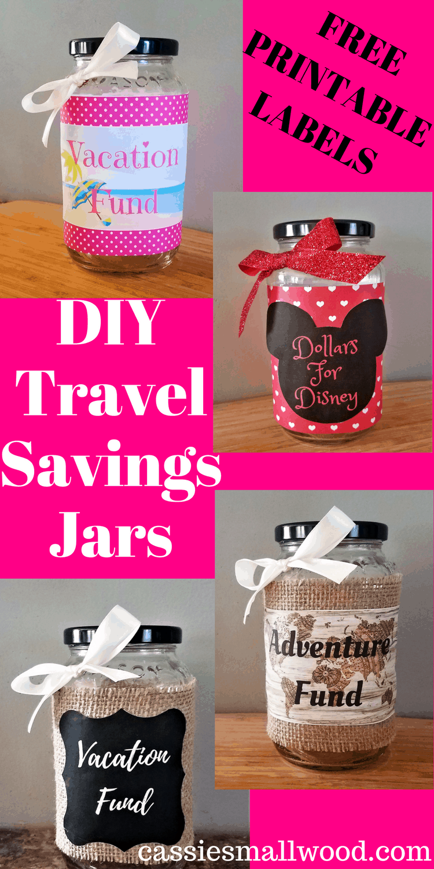 picture regarding Savings Jar Printable identify Do it yourself Generate Fund Jar Family vacation Financial savings ~ Cie Smallwood
