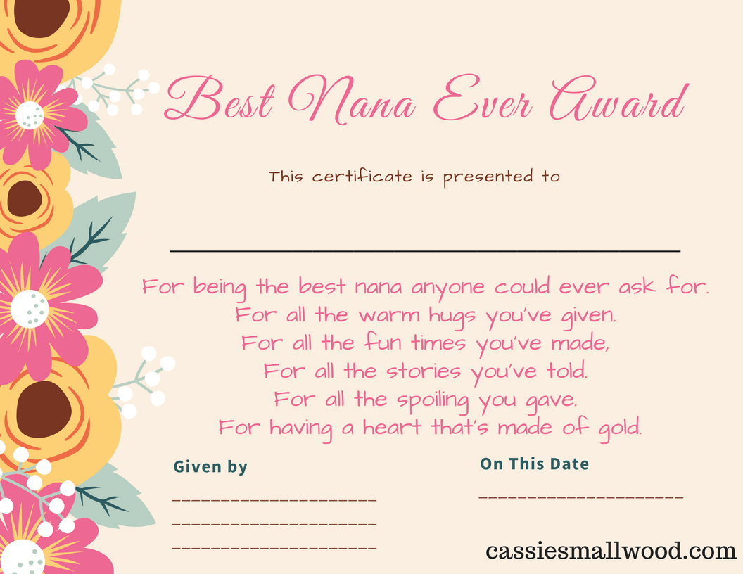 Free Mothers Day Printable Certificate Awards For Mom And Grandma