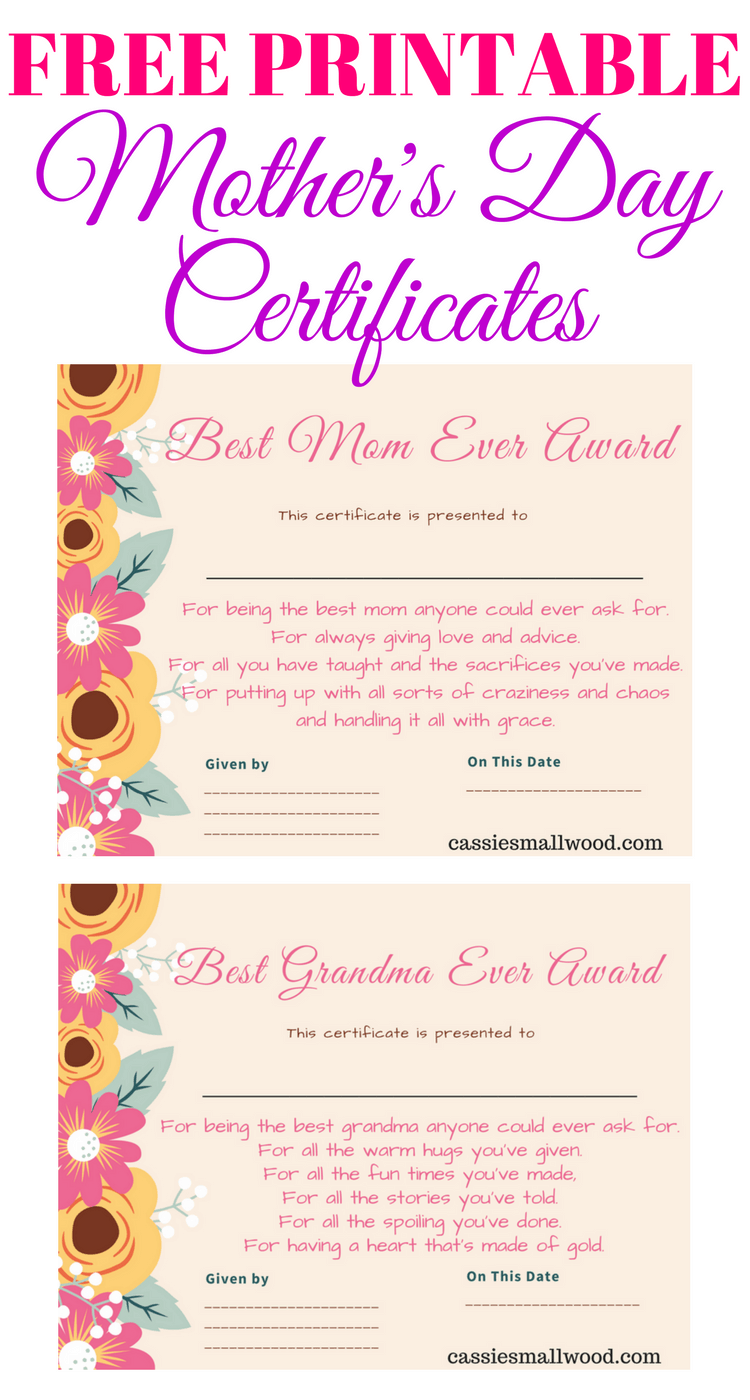 photograph relating to All About My Grandma Printable identified as Absolutely free Moms Working day Printable Certification Awards For Mother And