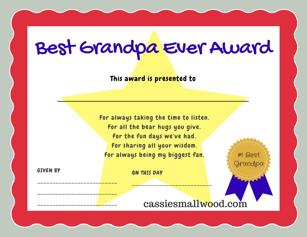 Best Grandpa Ever Certificate Of Appreciation Cassie