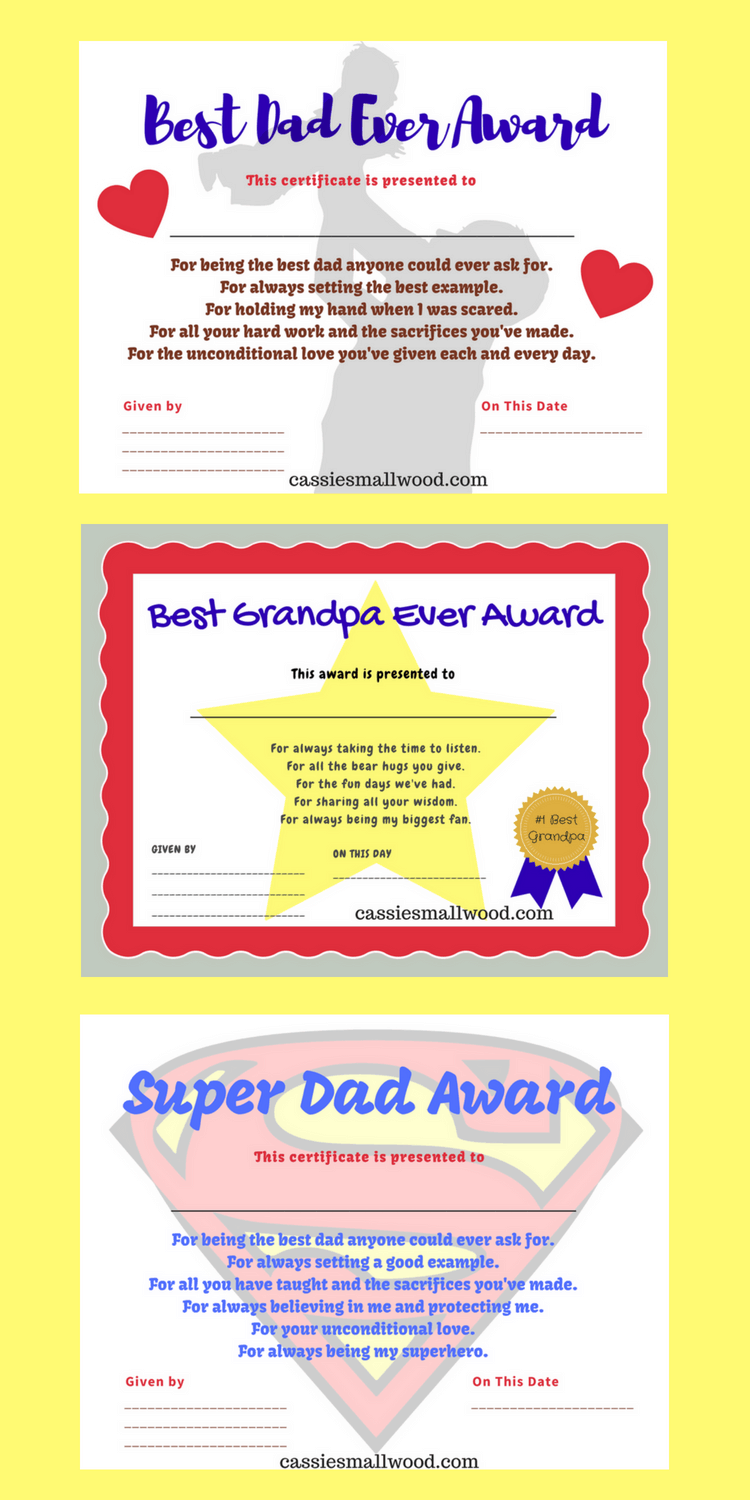 Printable Fathers Day Certificates Of Appreciation Gifts For Dad