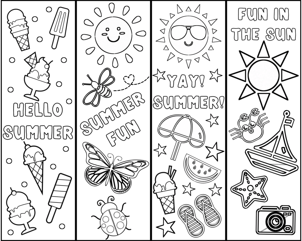 Cute Free Printable Bookmarks To Color For Kids Summer Fun Cassie Smallwood
