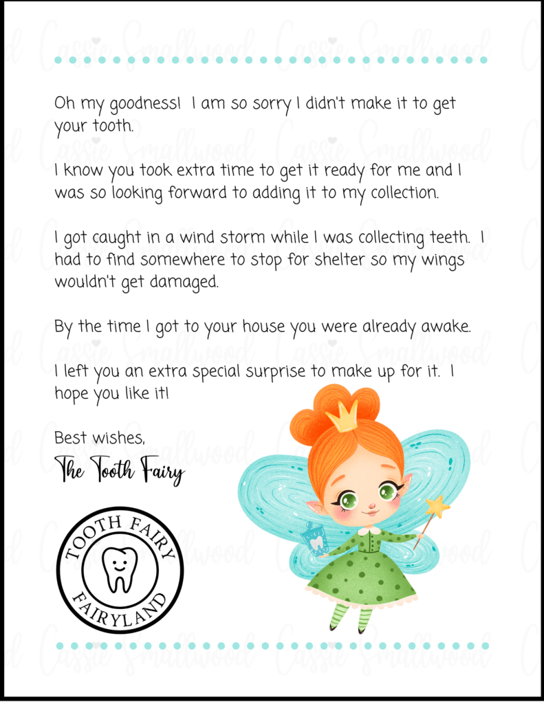 5 Insanely Cute Free Printable Tooth Fairy Letters Cassie Smallwood
