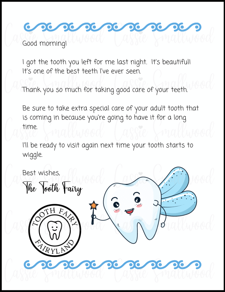 Cute Tooth Fairy Letter For Boys Cassie Smallwood